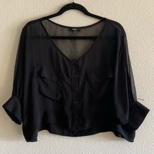 Sheer Silky Flowy Cropped Black Blouse (LF Store)